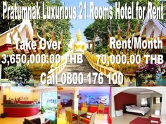 Pratumnak Luxurious 21 Rooms Hotel for Rent on Pratumnak Hill near public transportation,  features a large restaurant, all deluxe rooms with balconies, 70,000.00 THB per month rent, takeover price  3,650,000.00 THB included already 2 months deposit and 1 month rent, 3+3+3, Call 0800176100, details: http://businessforsalepattaya.com/pratumnak-21-rooms-hotel-for-rent/