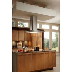 Broan 36 Inch Island Mount Chimney Style Hood with 500 CFM Blower, Electronic Control, Halogen Lighting, and Delay Off, in Stainless Steel with Glass Canopy Island Range Hood, Range Hoods, Chimney Range Hood, Stainless Steel Island, Wenge Wood, Kitchen Designs Photos, Ventilation System, Ceiling Height