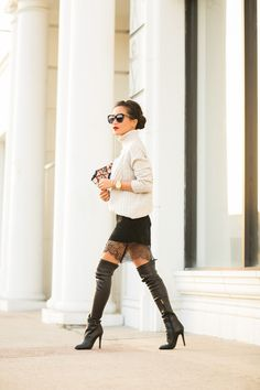 Vince Jumper, Zara dress, Jimmy Choo boots