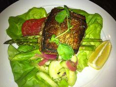 Pan-Seared Ontario Pickerel butter lettuce, green asparagus, tomato & cucumber relish  @ Oliver and Bonnacini 33 Yonge St, Toronto