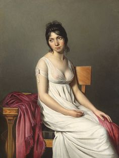 Circle of Jacques-Louis David (French, Portrait of a Young Woman in White, ca. Oil on canvas. x 95 cm). National Gallery of Art, Washington, D. Jacque Louis David, La Malmaison, National Gallery Of Art, National Art, Art Gallery, French Revolution, Empire Style, Female Portrait, Oil Portrait