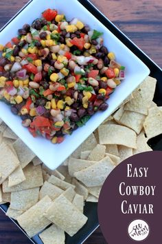 This Easy Cowboy Caviar Recipe is a snap to make and a delicious appetizer recipe. One of our favorite dip recipes, it's naturally vegan and gluten free!