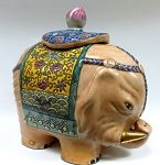 """Porcelain Figurine of a Boar with Gold Tusks; 12"""" long."""