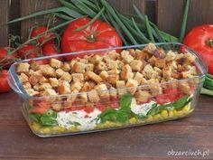Grillowa sałatka z grzankami - Obżarciuch Sauerkraut Soup Recipe, Pork Stew Meat, Hunters Stew, B Food, Evening Meals, Pasta Salad, Soup Recipes, Grilling, Salads
