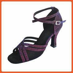 "Jig Foo Sandals Open-toe Latin Salsa Tango Ballroom Dance Shoes for Women with 3"" Heel,Purple Satin and Black Mesh,12 B(M) US - Sandals for women (*Amazon Partner-Link)"