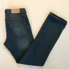 """⚡️SALE⚡️ Acne """"Hep"""" jeans in steel Straight leg, buttery soft denim. Faded, weathered areas on front and back with whiskering on thighs (pictured). Marked size 31 x 34, but would best fit size 28-30. 98% cotton, 2% elastane. Approximate measurements taken flat: rise 8.5"""", waist 15.5"""", inseam 31.5"""". Excellent used condition. Acne Jeans Straight Leg"""