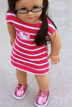 Sew a American Girl Doll Dress from a t shirt