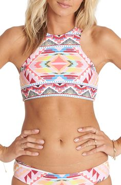 Billabong Geo Print High Neck Bikini Top available at #Nordstrom