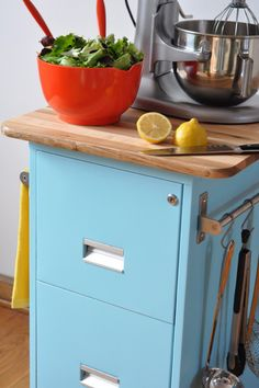 Make a kitchen cart from an old filing cabinet! via @curbly