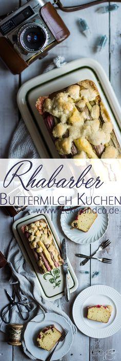 Rhabarber Buttermilch Kuchen mit Streuseln