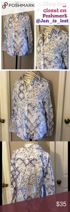 "Chico's Blouse Size 1 (medium 8) White, blue and khaki button down long sleeve 100% cotton blouse. Size 1 which is a medium size 8 by Chico's size guide. Measures 21"" from pit to pit. Waist measures 19"". Measurements were taken laying flat. Chico's Tops Button Down Shirts"