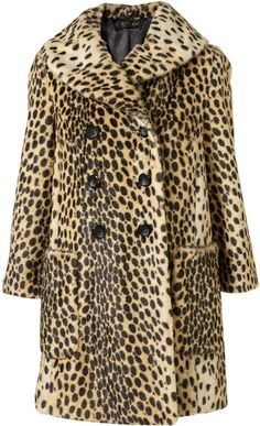 Topshop Leopard Print Vintage Faux Fur Coat in Animal (fawn)