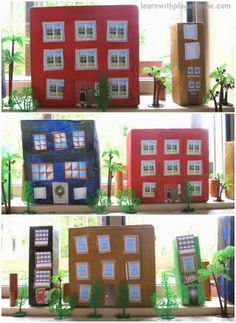 Learn with Play at home: Create a Box City. Cutting practice and creativity for kids. (with free printable windows and doors) How will you design yours?