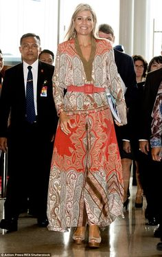 Queen Maxima wears a paisley jumpsuit in Indonesia