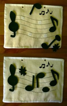 Quiet book ideas - Put the music notes on the staff. Definitely need this page in our quiet book! Diy Quiet Books, Baby Quiet Book, Felt Quiet Books, Quiet Book Templates, Quiet Book Patterns, Book Projects, Sewing Projects, Silent Book, Book Libros
