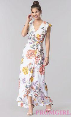 Image of maxi-length faux-wrap floral-print casual dress. Simple Dresses, Elegant Dresses, Pretty Dresses, Sexy Dresses, Beautiful Dresses, Fashion Dresses, Dresses For Work, Summer Dresses, Formal Dresses