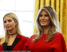 Ivanka Trump wished the first lady and her stepmother a happy birthday on Wednesday as Melania Trump celebrated turning 47 in a message filled with adoration posted to Twitter; Melania (L) and Ivanka Trump (R) are seen here in the Oval Office at the White House in Washington, DC on February 28, 2017