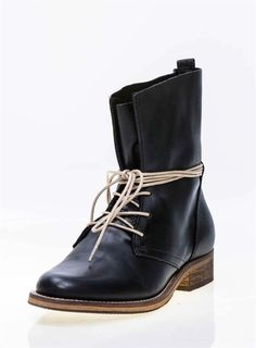 Chelsea Crew FABIO II, Low Heel Lace-up Leather Military Style Mid Calf Boots #ChelseaCrew #FashionMidCalf