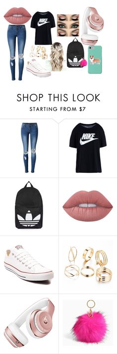 """School comfy and cuteee"" by coleebug26 on Polyvore featuring WithChic, NIKE, Topshop, Lime Crime, Converse, Beats by Dr. Dre, Torrid and Corgi"