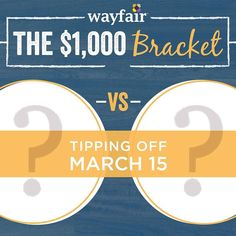 On Tuesday March 15th eight of our style stars square off in a tournament of epic proportion! Join the game for your chance to win a $1000 Wayfair gift card. Stay tuned for details coming soon. by wayfair