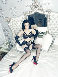 The new Dita Von Teese Lingerie collection is her best yet. Using gorgeous vintage-inspired shapes, Ms. Von Teese is quickly becoming the queen of lingerie. Belle Lingerie, Lingerie Chic, Ensemble Lingerie, Hollywood Lingerie, Lingerie Shoot, Lingerie Dress, Luxury Lingerie, Women Lingerie, Dita Von Teese Lingerie