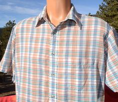 f5e20d57 70s vintage PLAID shirt short sleeve button down preppy hipster Large jc  penney soft thin Vintage