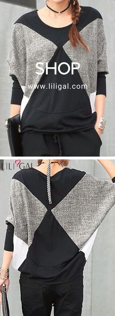 ae3bad5e6 USD30.64 Color Block Batwing Sleeve Round Neck Blouse  liligal  blouse   shirts
