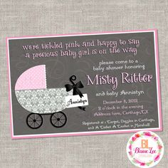 Baby Carriage Baby Shower Invitation- Digital File by BlaineLeeCo on Etsy https://www.etsy.com/listing/469709665/baby-carriage-baby-shower-invitation