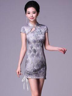 Gray Short Lace Cheongsam / Qipao / Chinese Evening Dress
