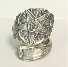 Order of the Eastern Star spoon ring! This pattern features all the traditional Freemason symbolism that has been passed down through the ages. The OES is an offshoot of the Freemasons for women who study the 5 main influential women of the Bible, although theyre not as well known. This