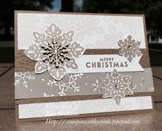 Flurry of Wishes. Kim's Card Class. Stampin Up! Stampinwithkjoyink Kim Williams. Snowflakes Stamps.