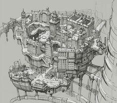 Concept Art for Gravity Rush, posted by Yoshiaki Yamaguchi – Gravity Rush Art Director