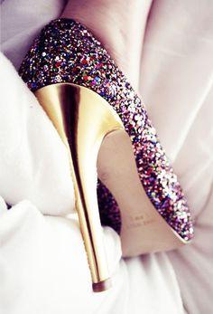 Hauts talons de couleurs pailletées - Chaussures pour femme - Brillez de mille feu