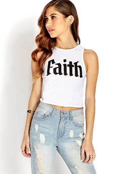 Faith Crop Top | FOREVER21 Faithful to fashion #Spring #Graphic #CropTop I want one like this