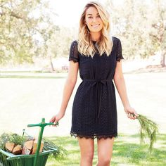 So cute...comes in white too! Decisions... | LC Lauren Conrad for Kohls black lace shift dress