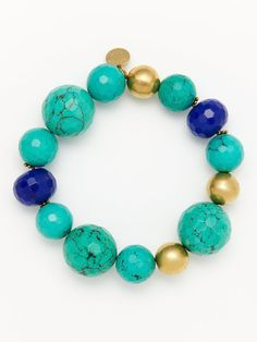 Turquoise & Blue Agate Bead Stretch Bracelet