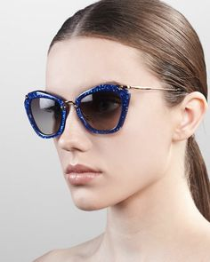 Extreme Catwalk Sunglasses, Royal Blue by Miu Miu at Neiman Marcus.