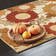 Look to your feet for a great place to instantly add autumn color. An #area #rug with a sunny fall bloom or a touch of seasonal accent will set the right tone. A #kitchen rug near the sink also adds relief for the feet when the cook has been busy whipping up something amazing.