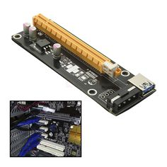 PCI-E PCI Express 1X to 16X Riser Card Extender with Power Cable. PCI-E 1X to 16X Mining Machine Enhanced Extender Riser Adapter with Power Cable. With power cable and 3.0 USB cable, digging preferred, stable anti-burn. With SATA 15Pin male to 4pin power cable, strengthen power supply, so that graphics power from the motherboard independent, so multi-card reduce motherboard burden. With 2 x FP solid capacitors, making graphics power supply more stable and secure. CI-E 16X slot with lock for…
