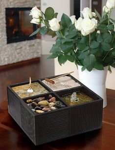 Combining a small fountain, sand garden, rock garden, and oil candle, Tranquila provides all the essentials of Zen in a simply designed Bronze square.