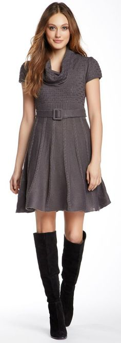 This grey dress is the perfect start to a great winter outfit.