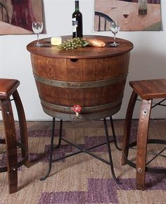 So cool for the wine lover with rustic decor. 2 Day Designs WV719BT Bistro Barrel Cooler