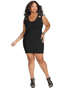 Soprano Plus Size Dress, Sleeveless Studded Body-Con - Junior Plus Sizes - Plus Sizes - Macy's