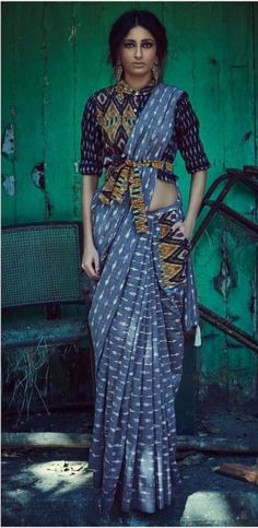 The pocket-saree: lovin' this look! #Ikat weaves.