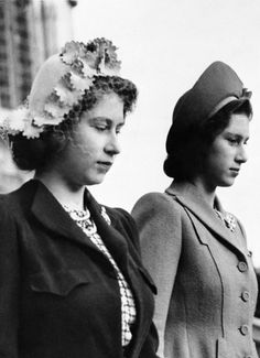 elizabethii:  Princess Elizabeth stands next to her sister, Princess Margaret Rose, during the wedding of Diana Piers Legh and the Earl of Kimberley at Windsor Castle, 1945