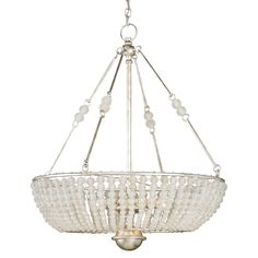 NUMBER OF LIGHTS: 8 MATERIAL: Wrought Iron/Crystal FINISH: Silver Granello WATTAGE PER LIGHT: 60 TOTAL WATTAGE: 480 BULB TYPE: Candelabra  Graceful lines and transitional materials give the Cleo Chandelier a wide-ranging appeal. This opulent chandelier showcases a lustrous Silver Granello finish and crystal bead ornamentation.
