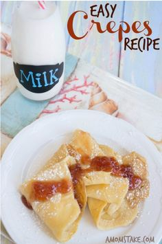 Easy Crepes Recipe: These crepes make for one tasty snack or breakfast or dinner! Let the whole family join in by picking their own toppings like fresh fruit, whipped cream, chocolate chips or powdered sugar! Make with DairyPure milk and pour a glass on the side while enjoying.