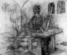 Remedios Varo drawing for Creation of the Birds, 1957.