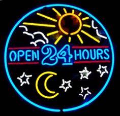 Open 24 Hours Sun and Moon Neon Diner Sign Cool Neon Signs, Custom Neon Signs, Led Neon Signs, San Diego, Diner Sign, Neon Nights, Neon Glow, Beer Bar, Neon Lighting
