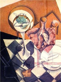 Juan Gris (1887 - 1927)   Synthetic Cubism   Fruit Bowl with Bottle - 1914